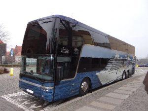 autokar piętrowy, prezentacja autobusu przeznaczonego na wynajem.biuro podróży OdraTravel.Szczecin